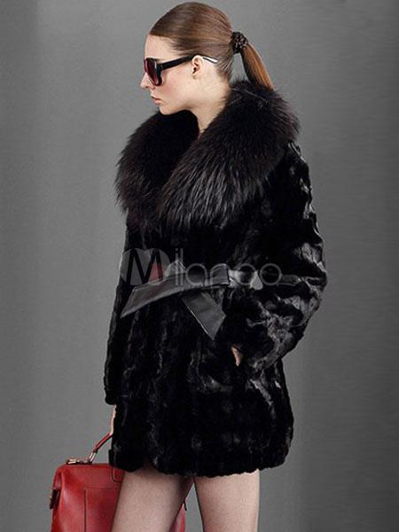 ... Faux Fur Coat Women Black Winter Coat Pillow Collar Luxurious Wrap Coat-No.2  ... fea79d30aa