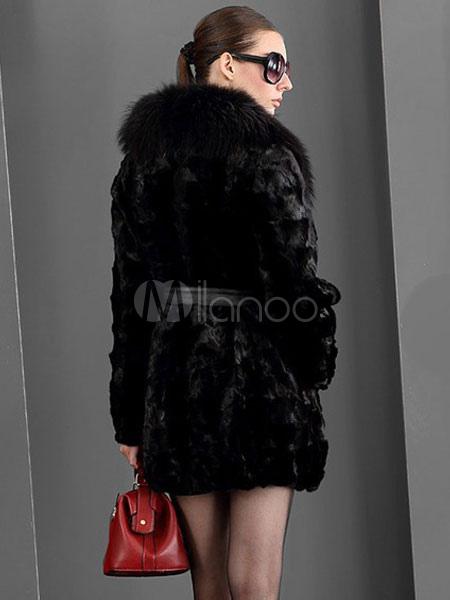 ... Faux Fur Coat Women Black Winter Coat Pillow Collar Luxurious Wrap Coat -No.3 7487ecc6a5