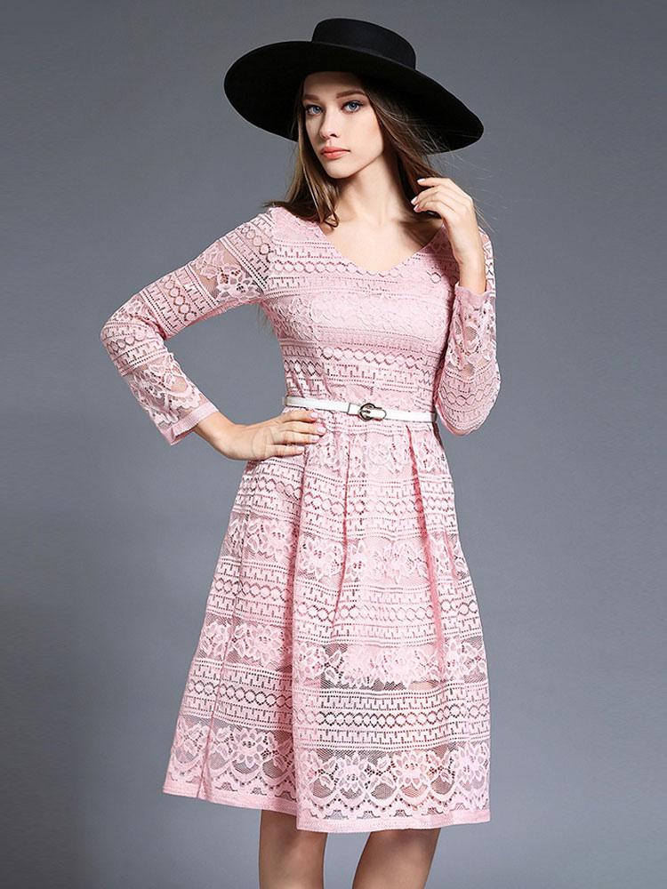9ef13199de Stile vintage pizzo abito rosa donne di illusione manica lunga con cintura  vestito a pieghe