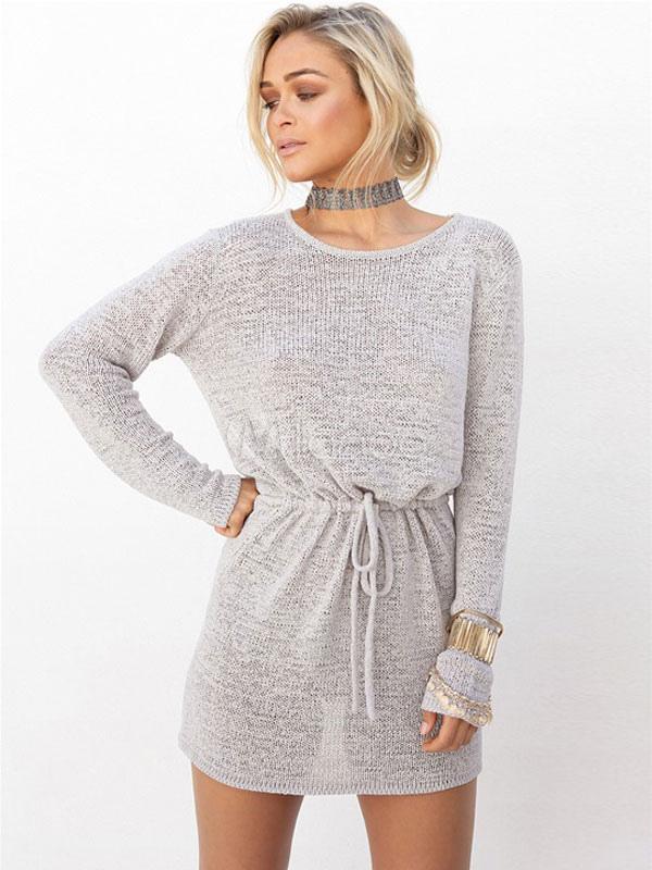 Long Sleeve Dress White Tie Waist Round Neck Women's Backless Short Dress Cheap clothes, free shipping worldwide