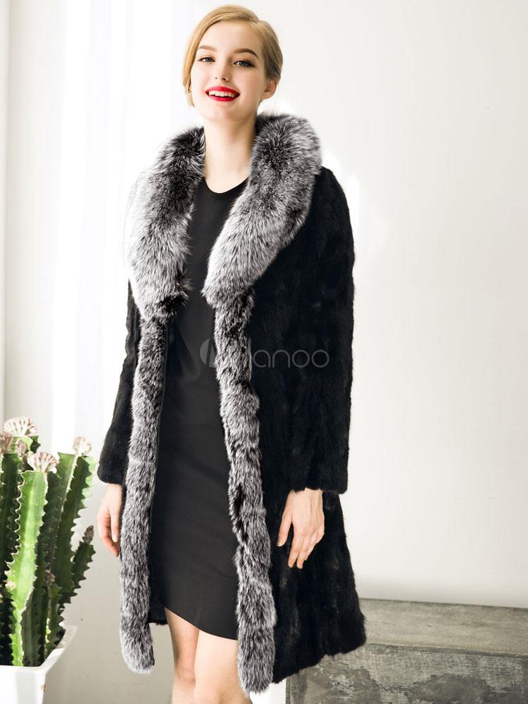 offizielle Fotos exquisite handwerkskunst neue hohe Qualität Wintermantel Fellimitat Damen Kontrast Farbe übergroße Wrap Mantel schwarz