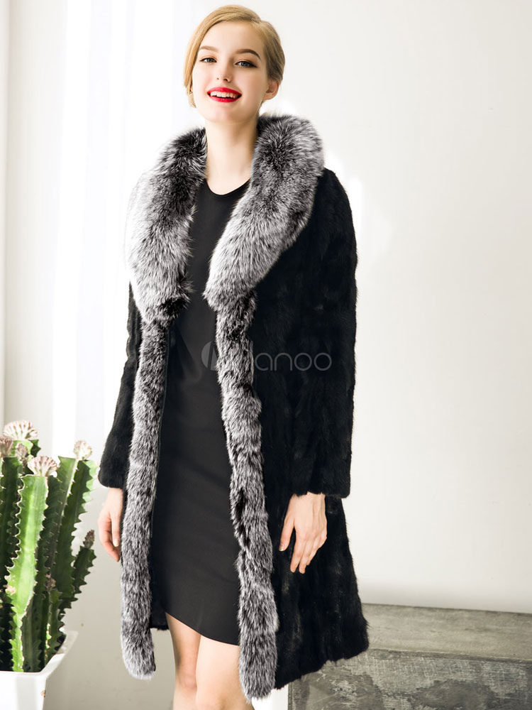 Damen Kontrast Schwarz Wintermantel Wrap Übergroße Fellimitat Farbe Mantel PiukZOX