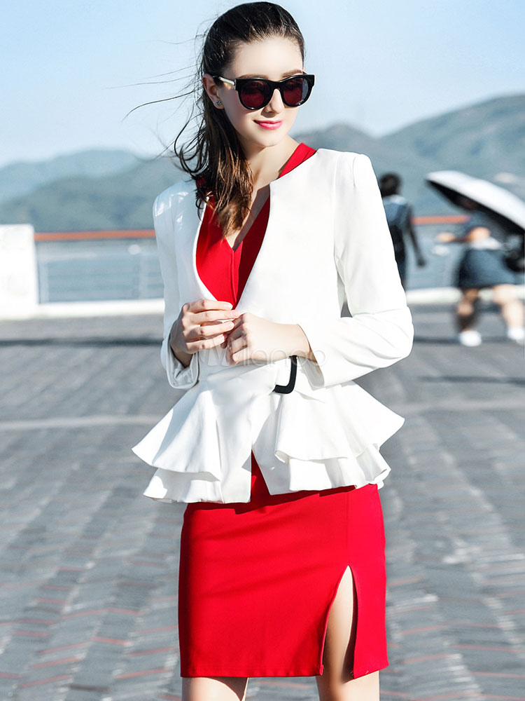 White Peplum Jacket Women's Ruffled Long Sleeve Buckle Blazers Cheap clothes, free shipping worldwide