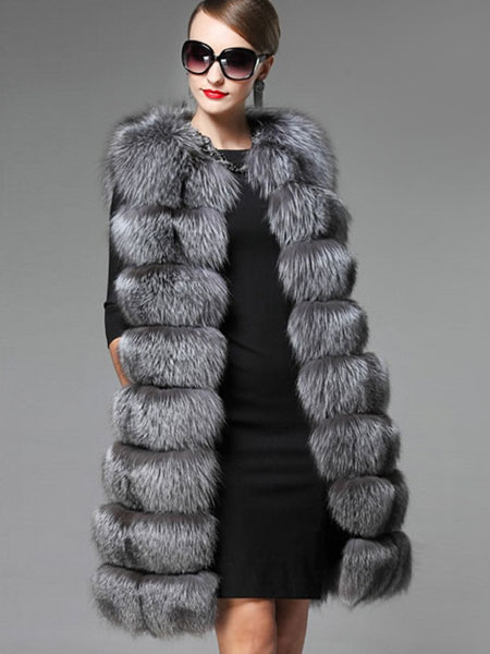 manteau fausse fourrure femme sans manches en couches long. Black Bedroom Furniture Sets. Home Design Ideas