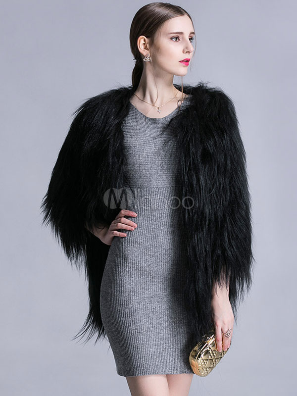 Faux Fur Coat Black Jewel 3/4 Length Sleeve Oversized Winter Coat