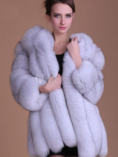 Faux Fur Coat Women Ivory Three Quarter Sleeve Winter Overcoat Cheap clothes, free shipping worldwide