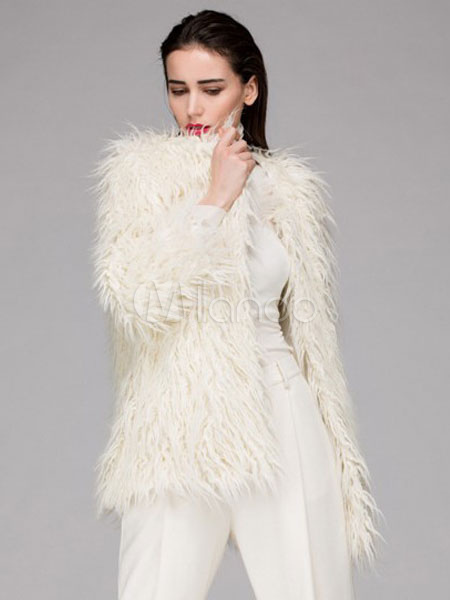 Buy Faux Fur Coat Ivory Jewel 3/4-Length Sleeve Oversized Winter Coat for $62.99 in Milanoo store