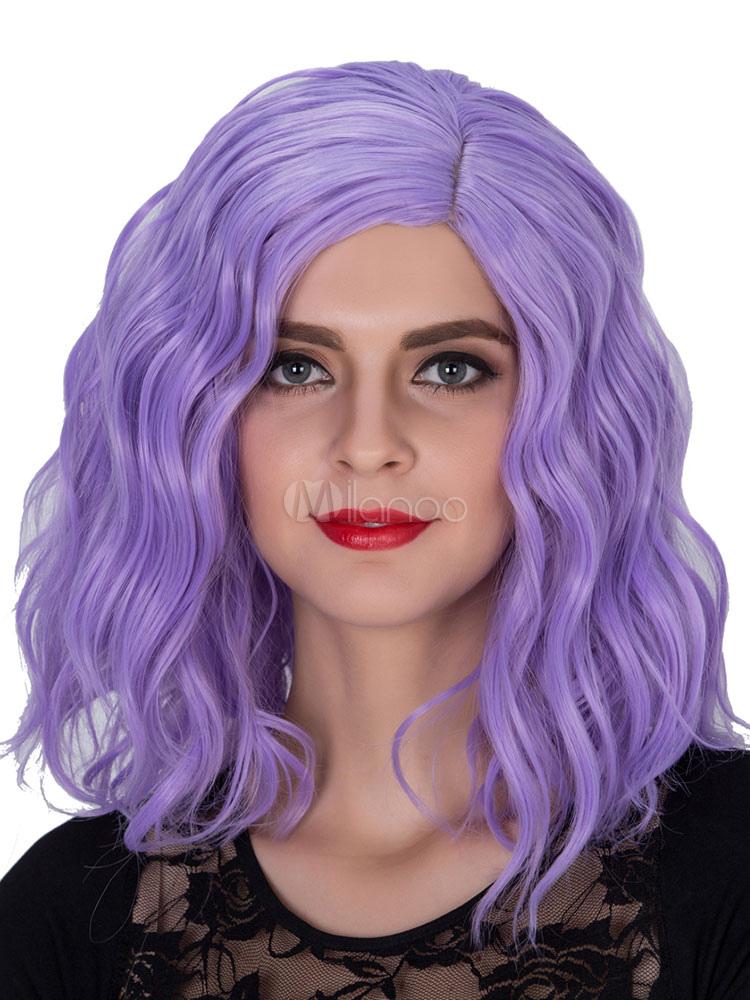Halloween Hair Wigs Carnival Women Wigs Wavy Purple Shoulder Length Hair Wigs Milanoo Com