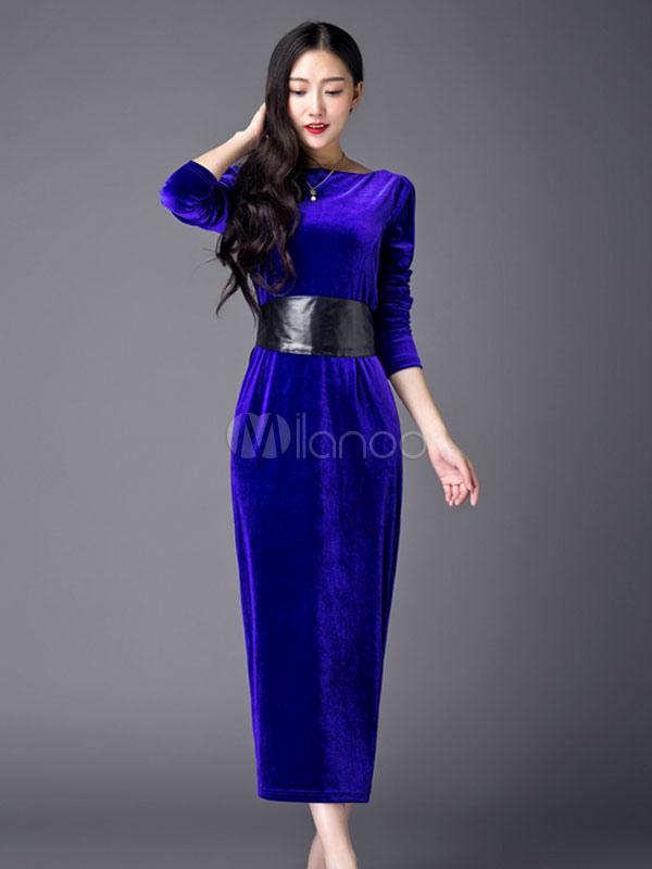 sports shoes ae903 d303f Manica lunga femminile Maxi Abito velluto blu Royal Spalato-vestito  aderente con Sash