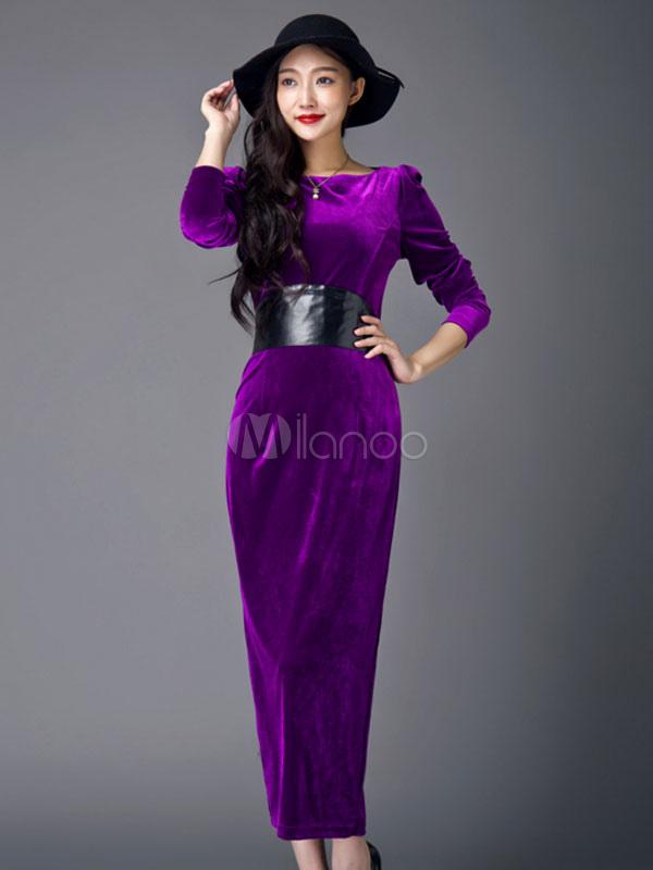 Vestido largo de terciopelo con escote redondo color liso con ...