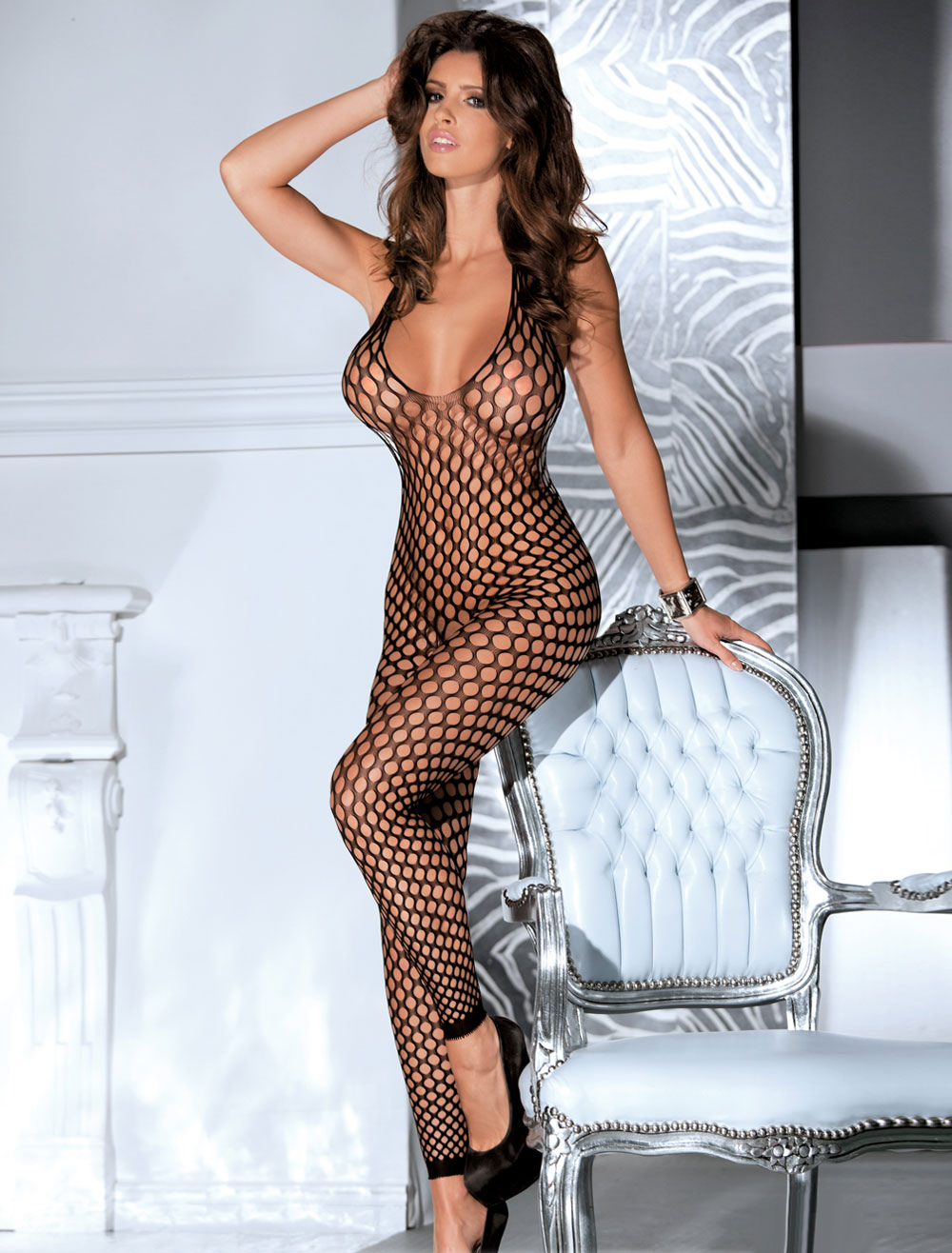 Black Women's Bodystocking Fishnet Backless Stretchy Sexy Lingerie