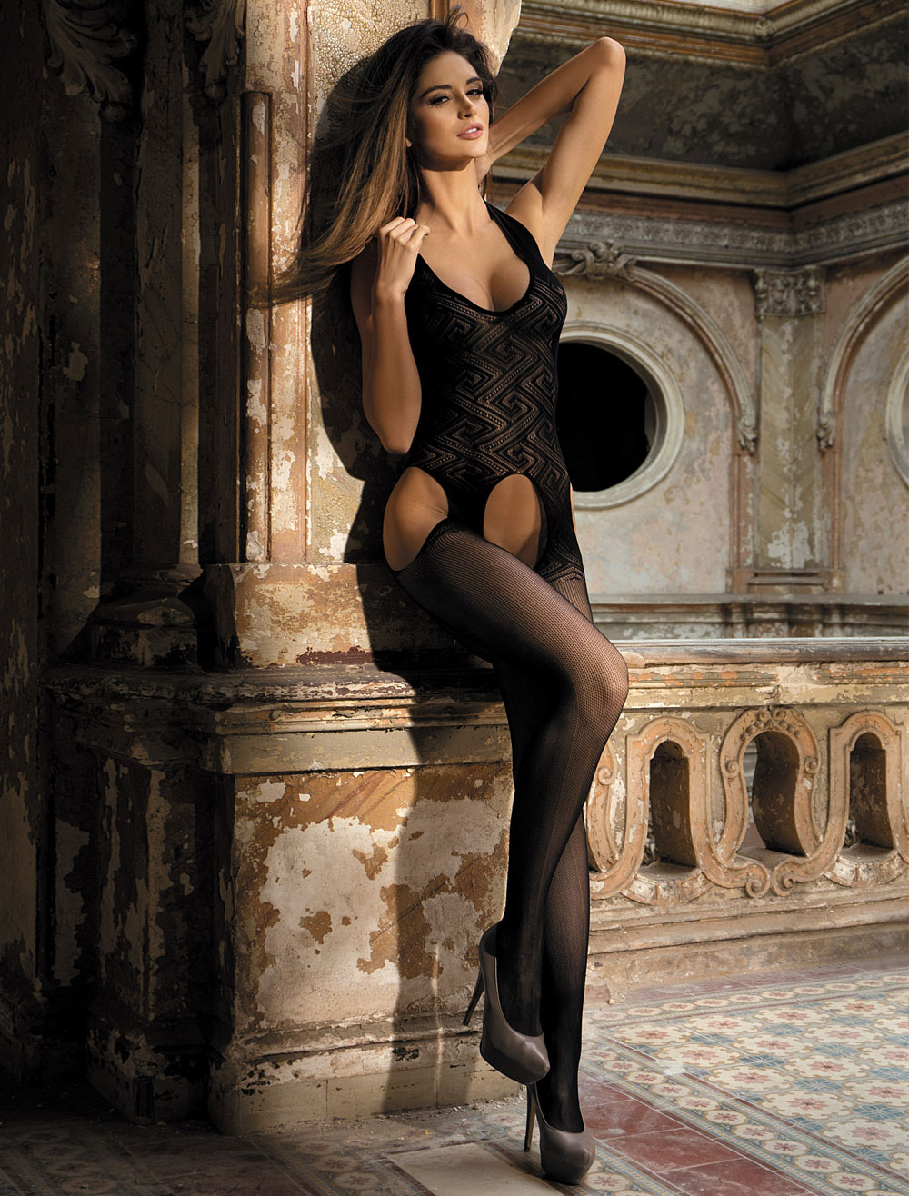 Women's Sexy Bodystocking Black Crotchless Cutout Stretchy Sheer Lingerie