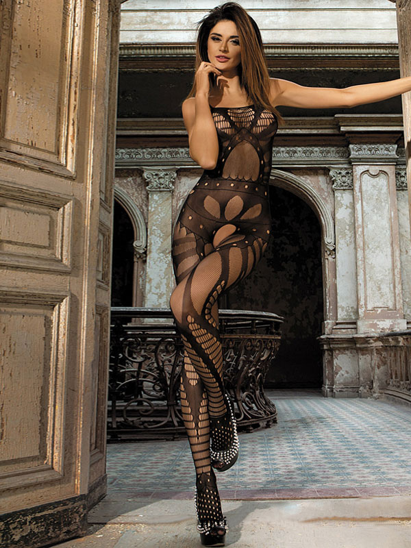 Women's Black Bodystocking Crotchless Cutout Stretchy Net Sexy Lingerie