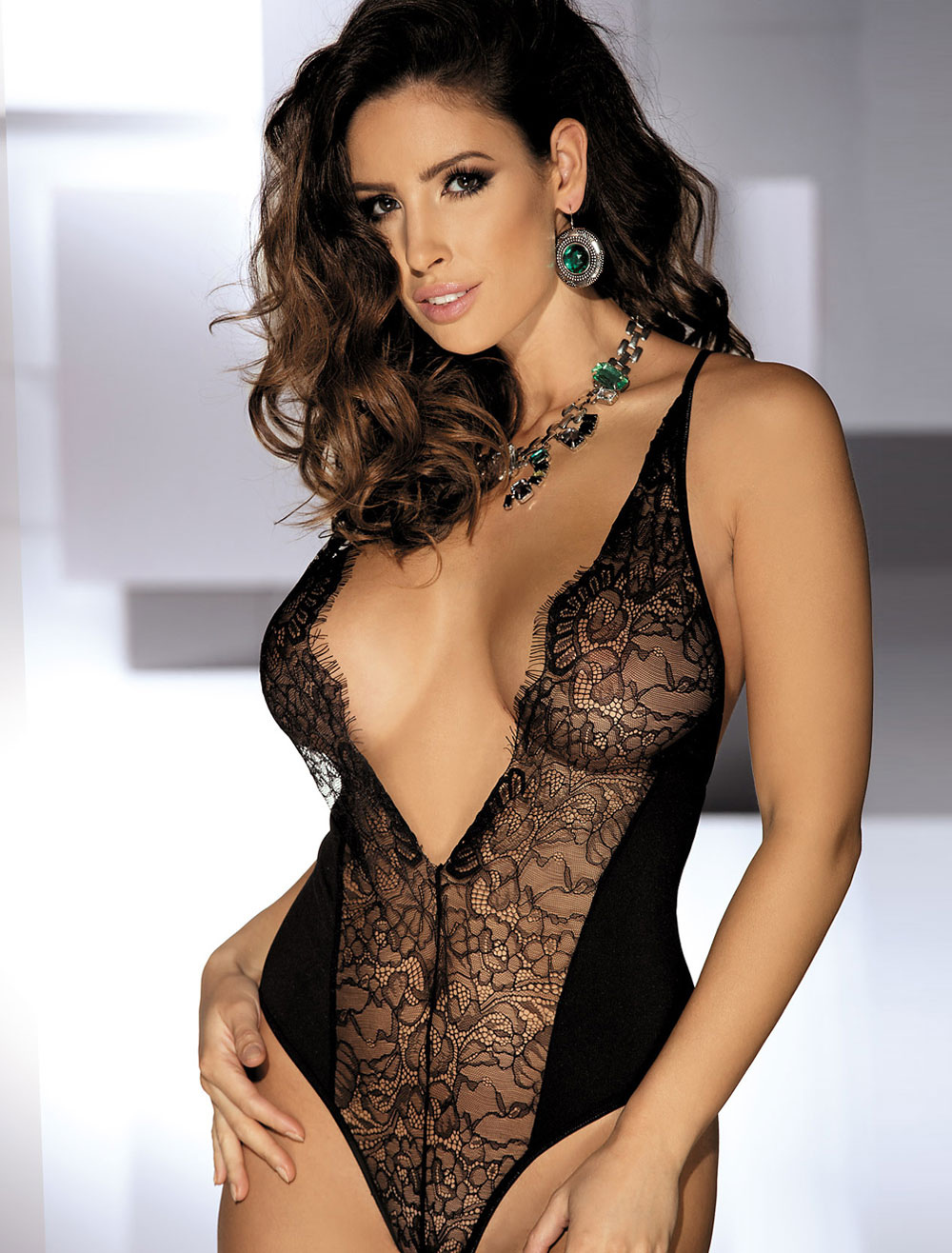 Black Lace Teddy Open Bust Semi Sheer Patchwork Backless Sexy Lingerie Cheap clothes, free shipping worldwide