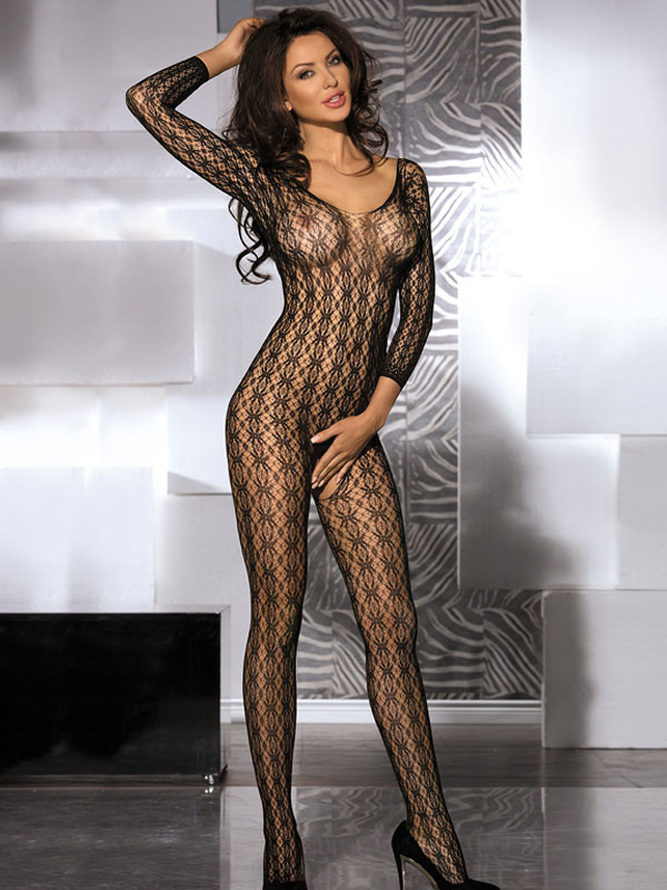 Women's Sexy Bodystocking Black Solid Color Crotchless Sheer Hosiery Lingerie