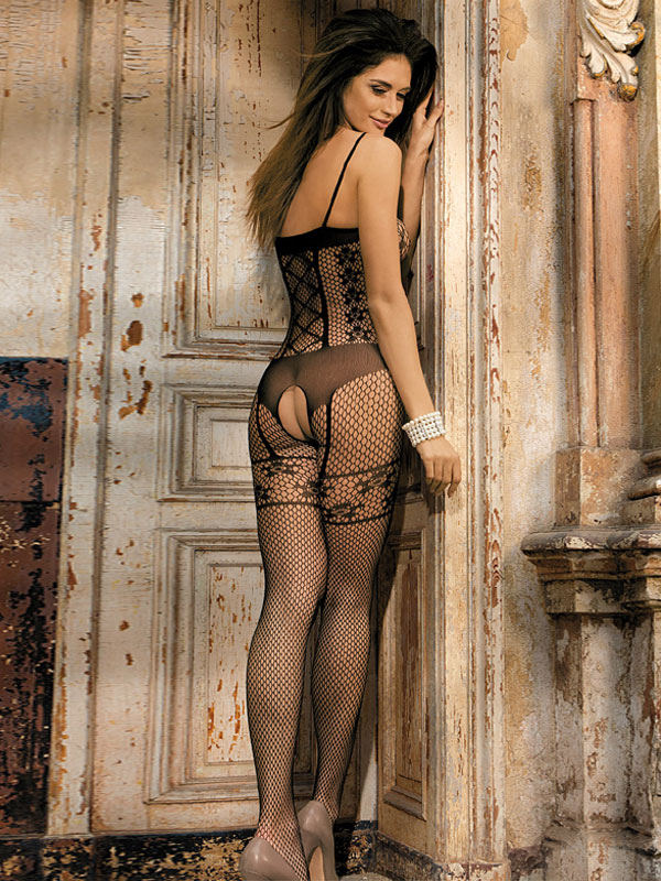 9dc814df4 ... Black Sexy Bodystocking Crotchless Jacquard Sheer Hosiery Lingerie For  Women-No.2 ...