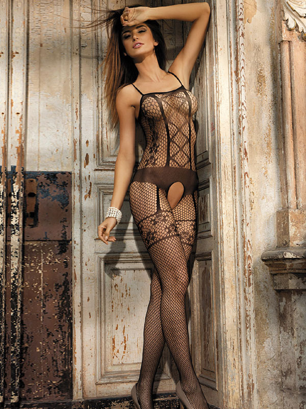 Black Sexy Bodystocking Crotchless Jacquard Sheer Hosiery Lingerie For Women