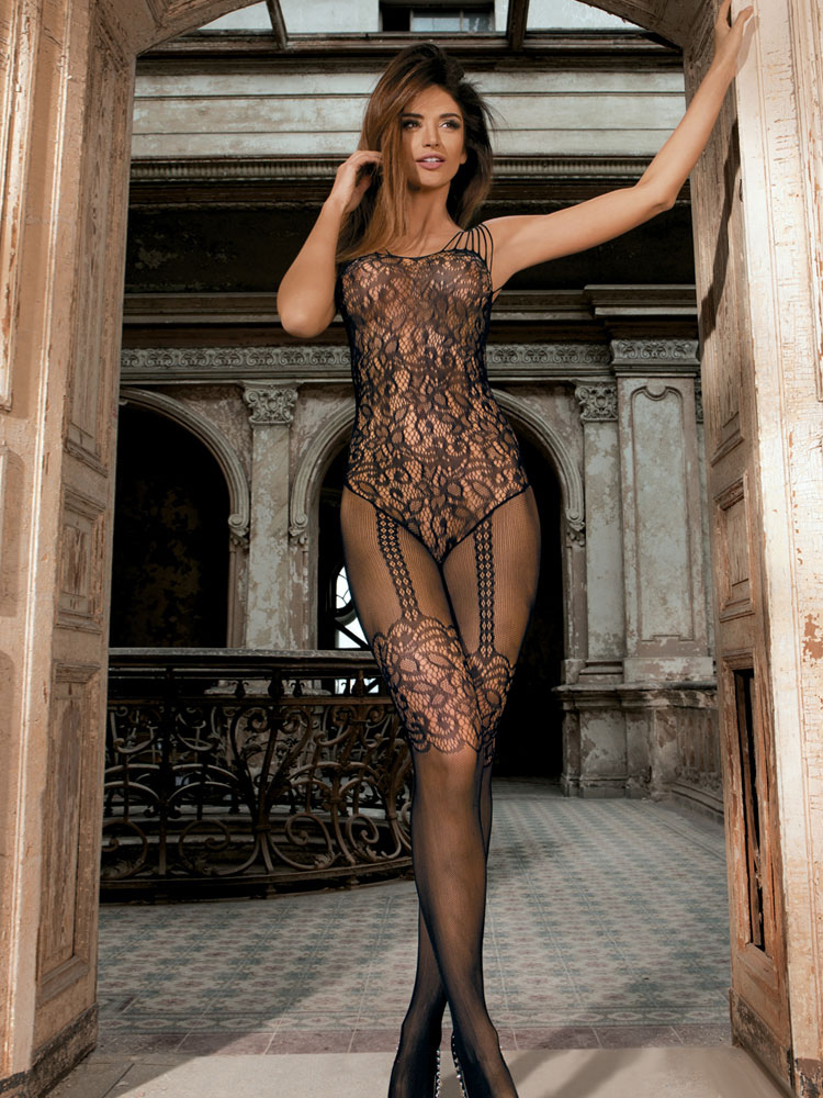 Black Sexy Bodystocking Jacquard Semi-Sheer Stretched Hosiery Lingerie For Women Cheap clothes, free shipping worldwide
