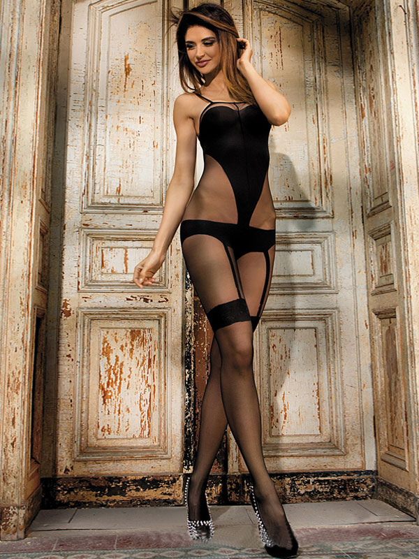Women's Sexy Bodystocking Black Sheer Crotchless Stretchy Lingerie