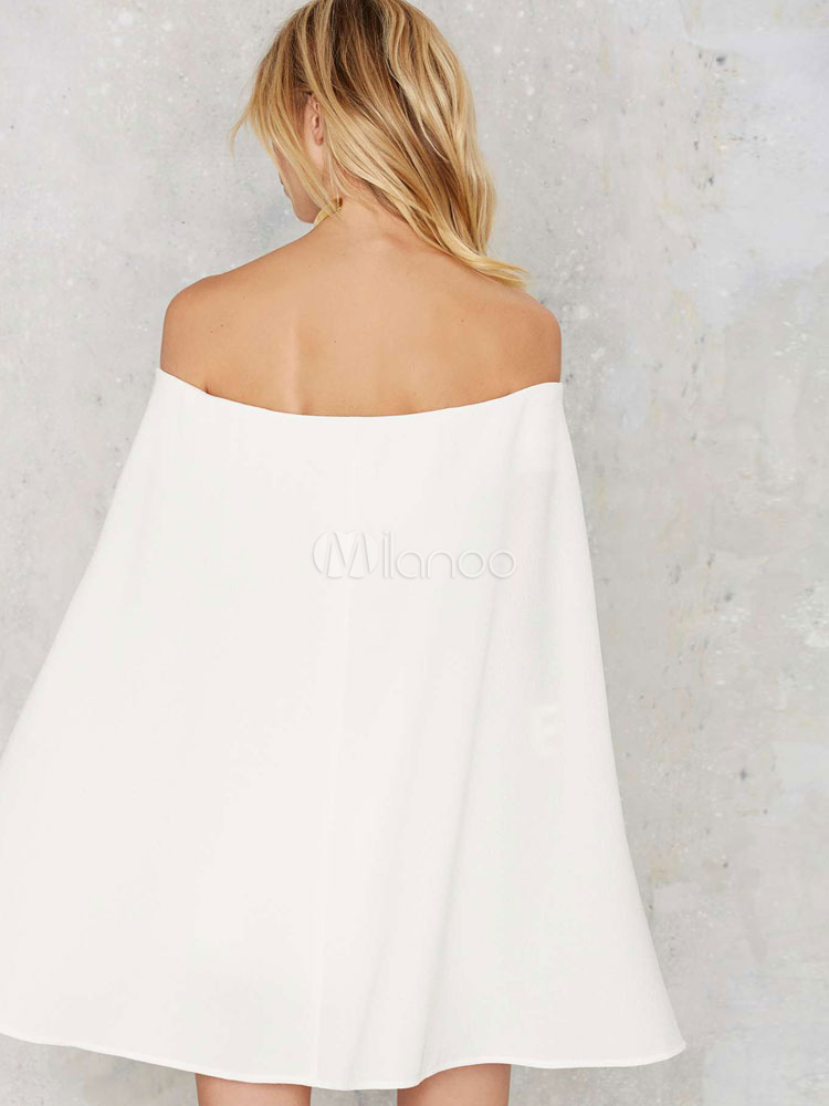 8564a93ec257 ... Mini White Dress Women s Off Shoulder Long Sleeve Short Bodycon Cape  Dress-No.4