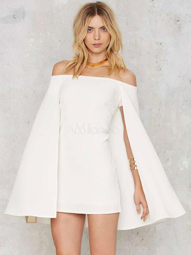 c71f52db0845 ... Mini White Dress Women s Off Shoulder Long Sleeve Short Bodycon Cape  Dress-No. ...