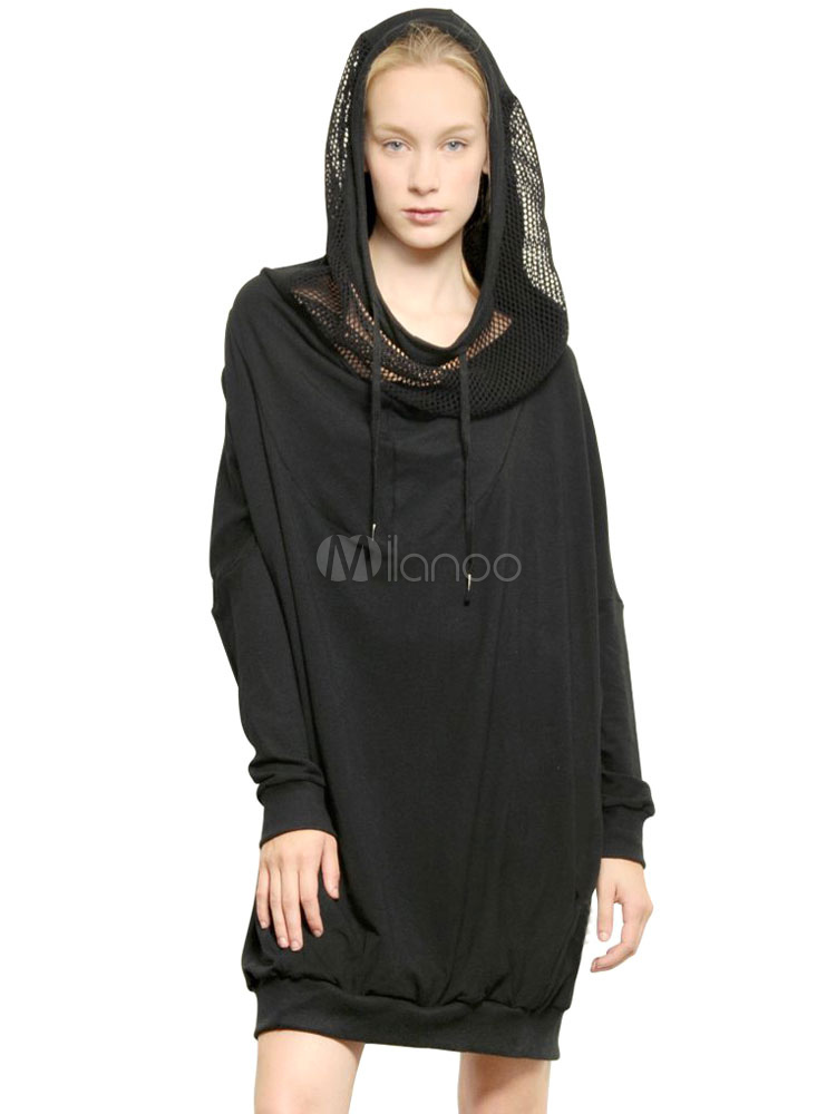 Schwarzes Kleid für Damen mit Kapuze Tunnelzug lange Ärmel Net Patchwork Casual Hoodie Kleid