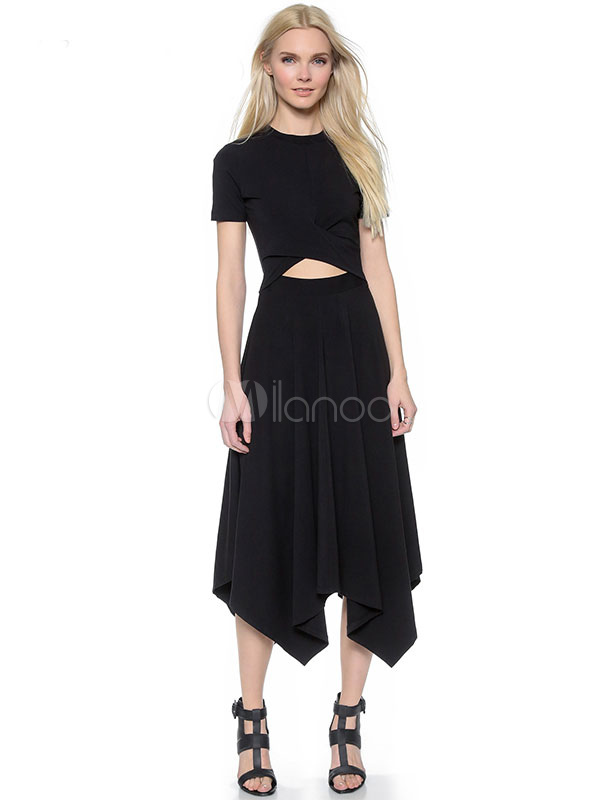 Buy Long Black Dress Pleated Women's Cut Out Short Sleeve Round Neck Irregular Maxi Dress for $17.99 in Milanoo store