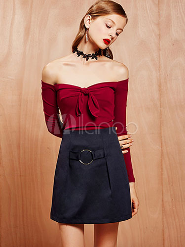 Buy Long Sleeve T-shirt Women's Off Shoulder Bow Slim Fit Cotton T-shirt In White/Burgundy for $15.29 in Milanoo store
