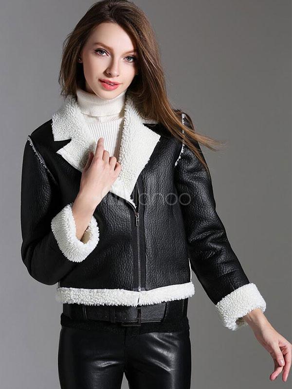 half off 466ff a6e09 PU pelle pelliccia Zip giacca nera femminile Moto Giacca corta
