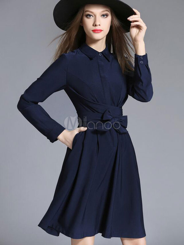 Pleated Shirt Dress Long Sleeve Women's Bows Dark Navy Flare Skater Dress Cheap clothes, free shipping worldwide