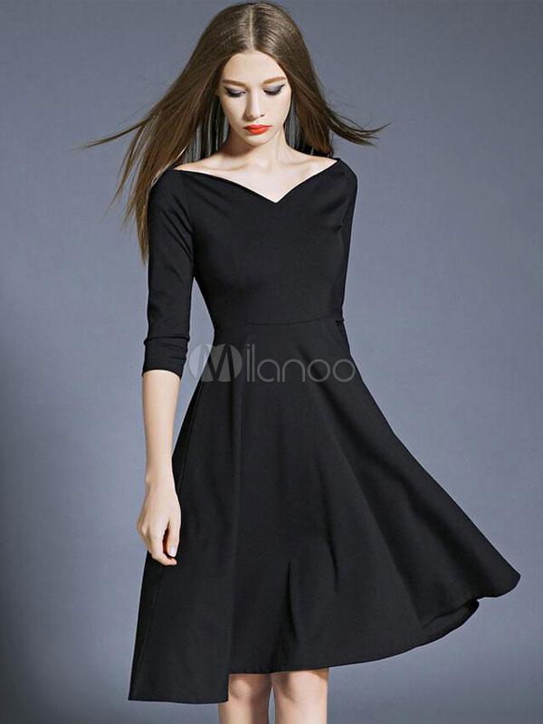 Little Black Dress Women's Pleated Half Sleeve Sweetheart Flare Skater Dress Cheap clothes, free shipping worldwide