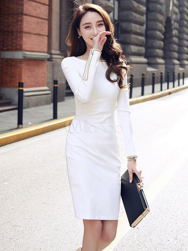 2d8e807d13ad Bianco vestito bodycon elegante girocollo manica lunga Slim Fit Shaping Abito  tubino-No.1 ...