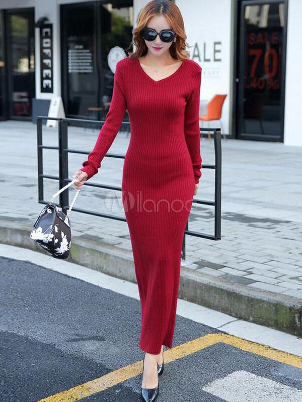 b04322b4abdd Manica lunga con scollo a v fessura maxi maglia vestito donna Slim Fit  Abito lungo in maglia ...