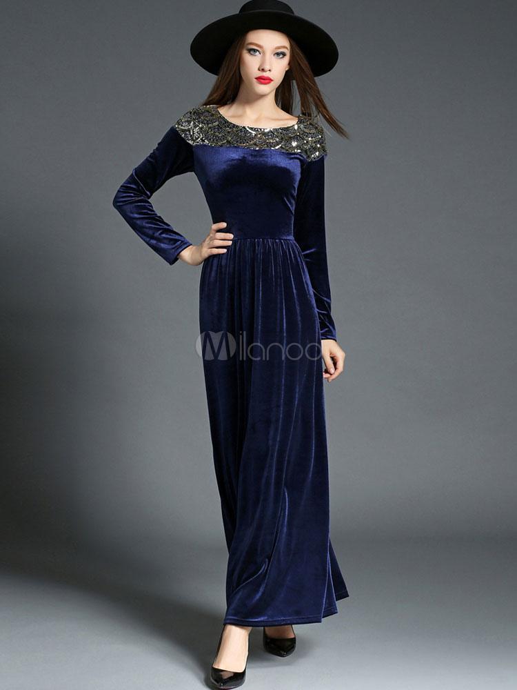 Buy Women's Maxi Dress Velvet Deep Blue Long Sleeve Sequins Round Neck Slim Fit Long Dress for $47.59 in Milanoo store