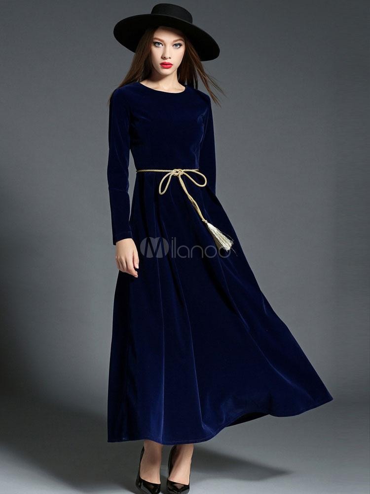 innovative design 96048 f3d7d Maxi delle donne abito manica lunga di velluto blu profondo Sash  plissettato abito lungo
