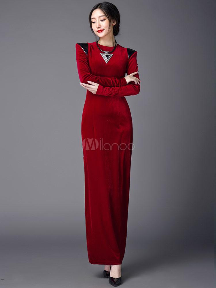 7790fe5ff4bb ... Black Maxi Dress Velvet Long Sleeve Slim Fit Slit Long Dress With  Shoulder Padding-No ...