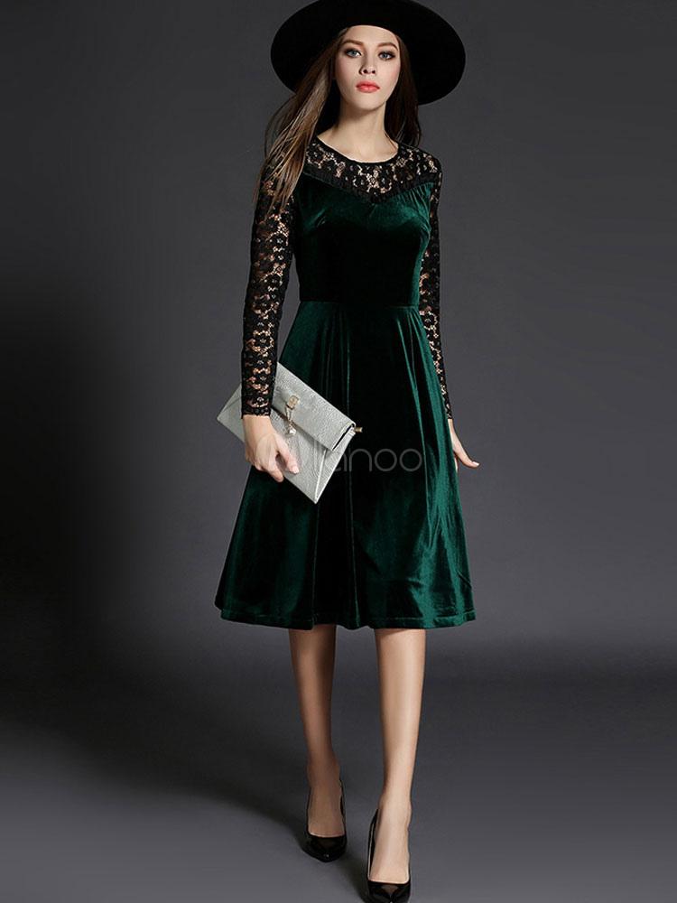 5267e2c1857 Skater robe velours manches longues deux ton Slim Fit Flare robe en dentelle  des femmes- ...