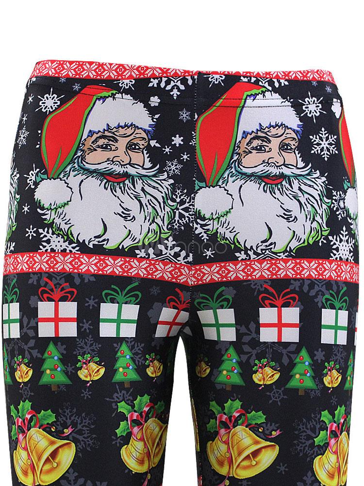 Schwarze Weihnachten Leggings Santa gedruckt Frauen schlank Fit ...