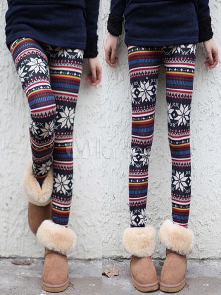 39b692b17024d9 Christmas Skinny Leggings Snowflake Printed Women's Tight Pants-No. ...