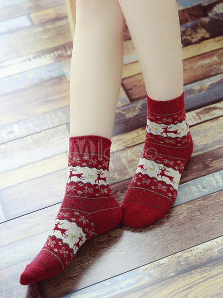 Christmas Women's Socks Deer & Snowflake Jacquard Hosiery Cheap clothes, free shipping worldwide