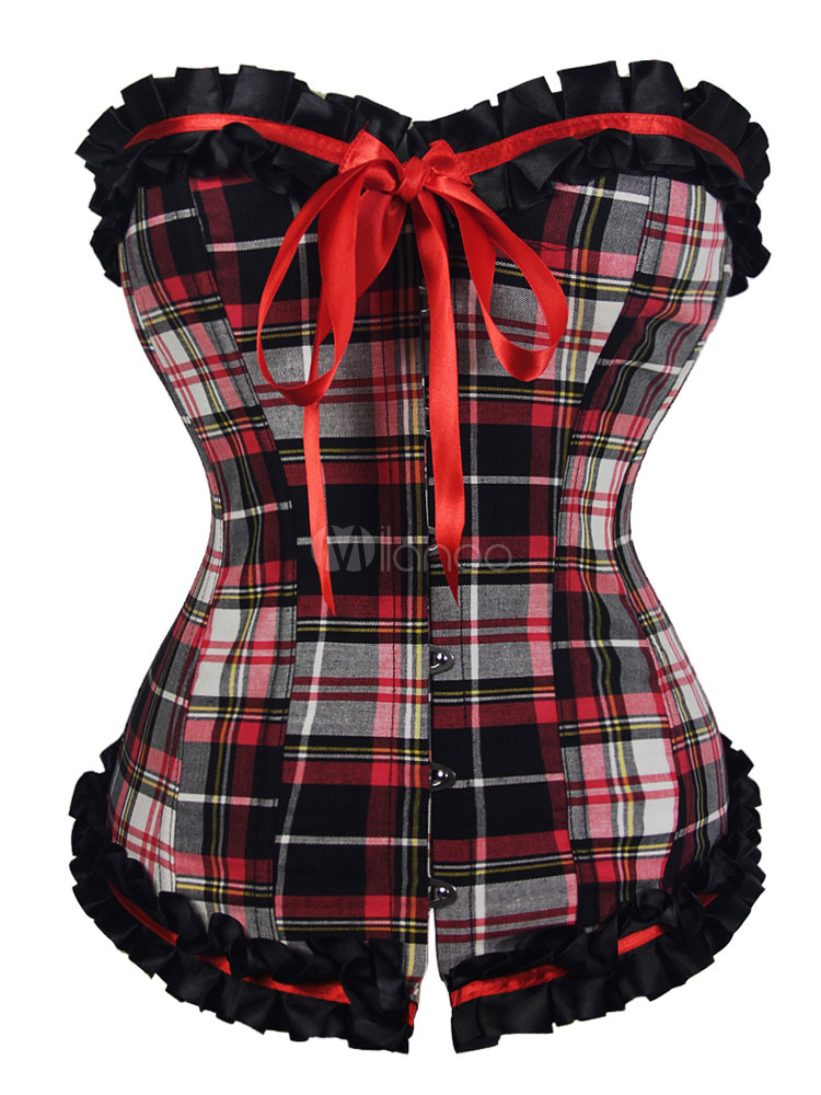 Women's Red Corset Front Buttons Lace Up Ruffles Plaided Pattern Bow Tie Classic Overbust Corset