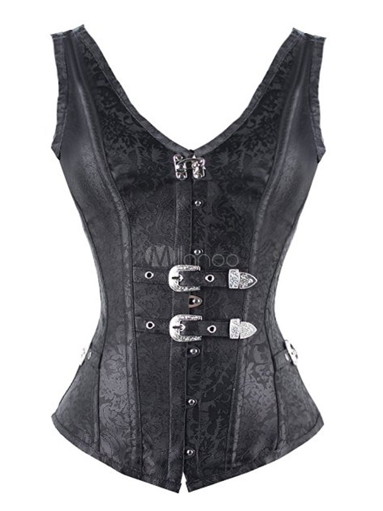 Sexy Black Corsets Vintage Jacquard Lace Up V Neck Bustier With Metal Details