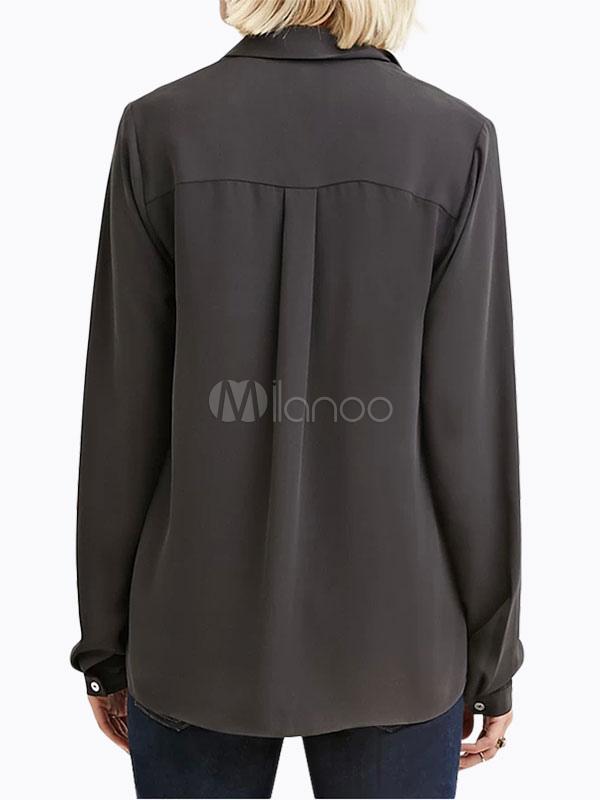 d790480f2e671c Chiffon donne camicetta camicia Casual manica lunga grigia profonda  couverture collare bottoni davanti-No.