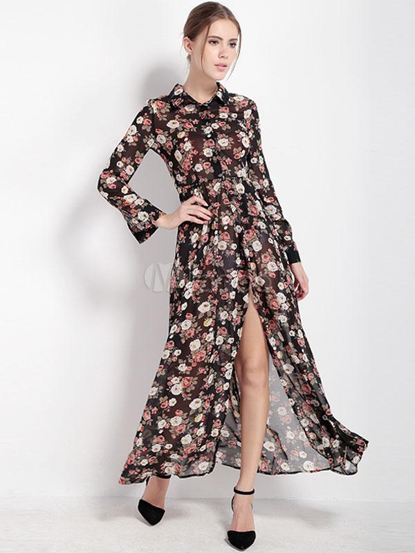 dfa5dda993 Vestido Maxi preto Floral impressão minha cama colarinho manga longa  cintura alta vestido longo para as ...