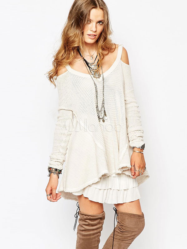 Buy White Knit Sweater Women's V-neck Cold Shoulder High Low Loose Knit Sweater for $23.99 in Milanoo store