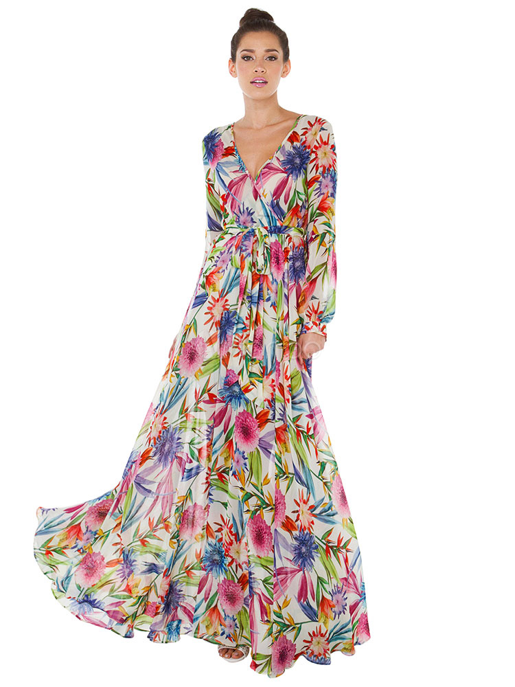Chiffon Maxi Dress Floral Print Long Sleeve V Neck Pleated Long Dress With Sash