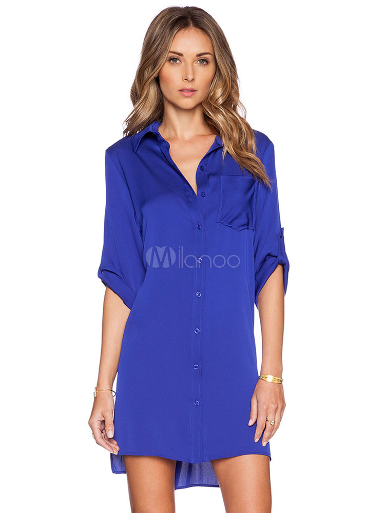 Women's Shirt Dress Deep Blue Turndown Collar Long Sleeve High Low Shift Dress Cheap clothes, free shipping worldwide