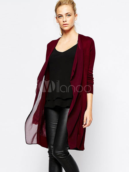 Burgundy Sweater Cardigan Women's Long Sleeve Patchwork Knit Casual Cardigan