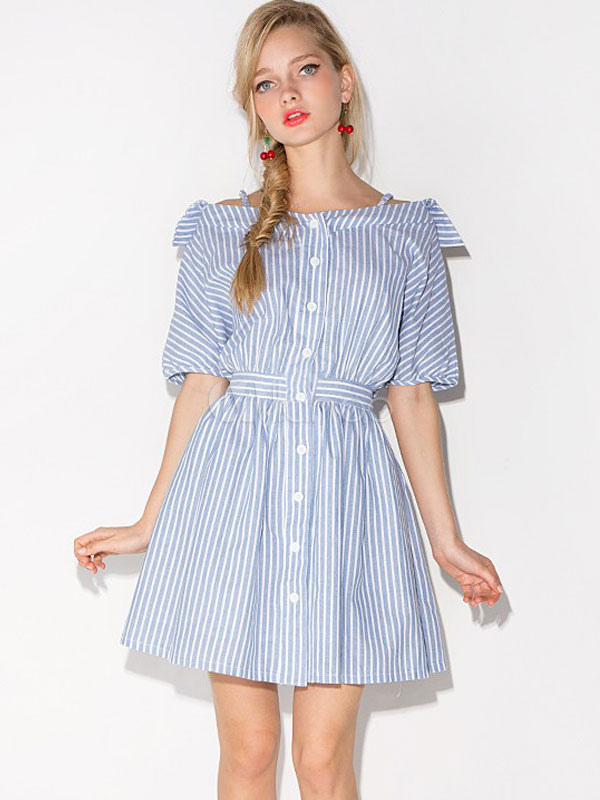 Buy Women's Shirt Dress Vertical Striped Navy Style Half Sleeve Pleated Flare Skater Dress In Light Blue for $26.99 in Milanoo store