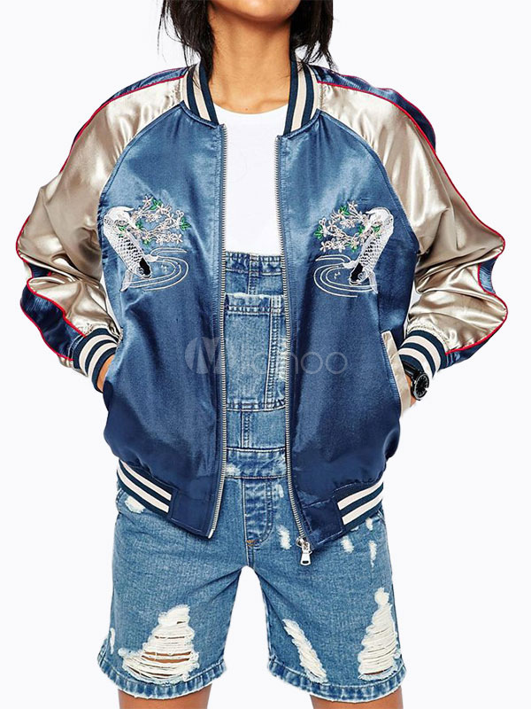 Buy Varsity Jacket Women Embroidered Long Sleeve Zip Up Bomber Jacket for $35.99 in Milanoo store